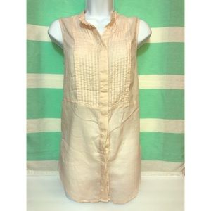 H&M pleated sleeveless button up top 36/6 shirt